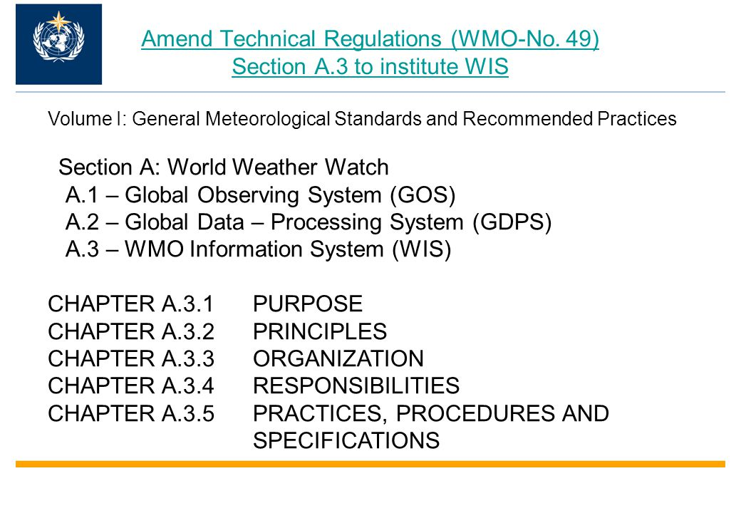 Amend Technical Regulations (WMO-No.