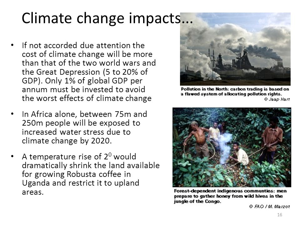 If not accorded due attention the cost of climate change will be more than that of the two world wars and the Great Depression (5 to 20% of GDP). Only