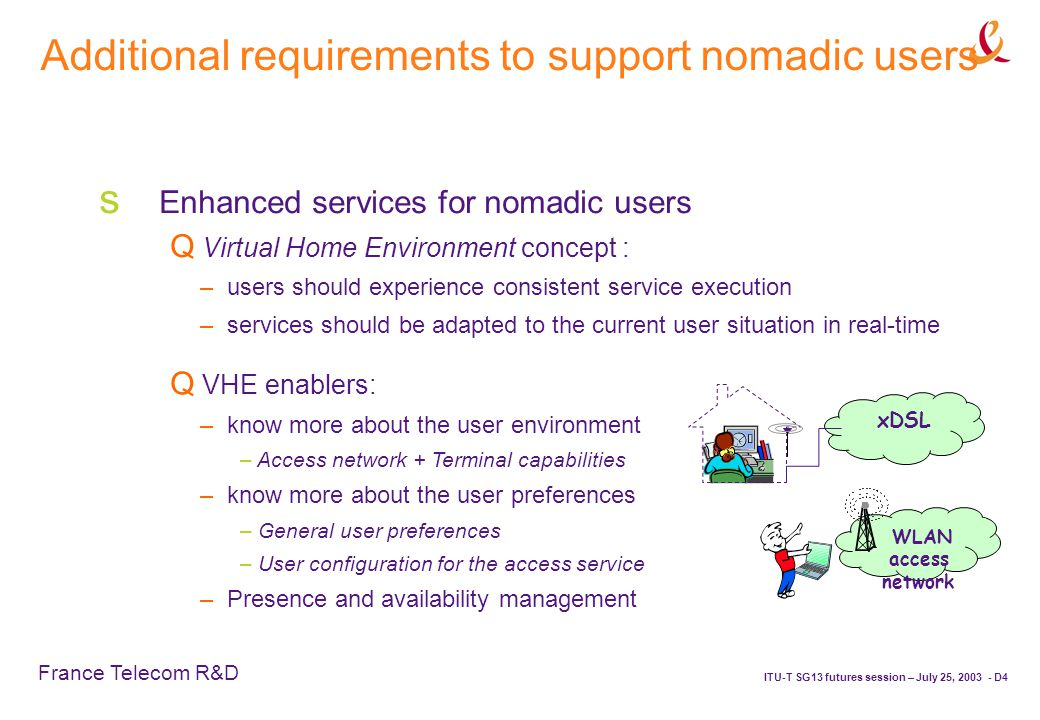 France Telecom R&D ITU-T SG13 futures session – July 25, 2003 - D4 Additional requirements to support nomadic users  Enhanced services for nomadic users  Virtual Home Environment concept : – users should experience consistent service execution – services should be adapted to the current user situation in real-time WLAN access network xDSL  VHE enablers: – know more about the user environment – Access network + Terminal capabilities – know more about the user preferences – General user preferences – User configuration for the access service – Presence and availability management