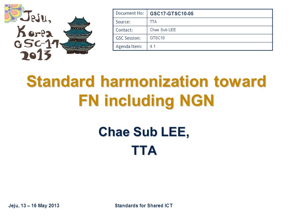 Jeju, 13 – 16 May 2013Standards for Shared ICT Standard harmonization toward FN including NGN Chae Sub LEE, TTA Document No: GSC17-GTSC10-05 Source: TTA Contact: Chae Sub LEE GSC Session: GTSC10 Agenda Item: 4.1