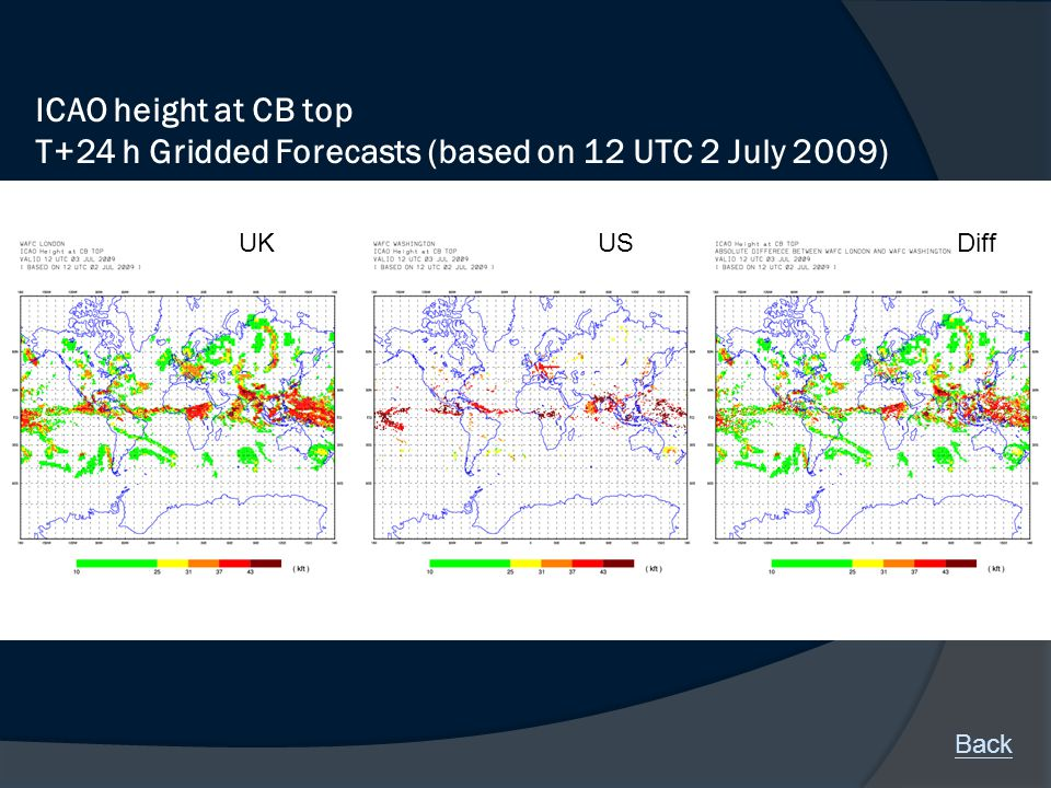 ICAO height at CB top T+24 h Gridded Forecasts (based on 12 UTC 2 July 2009) UKUSDiff Back