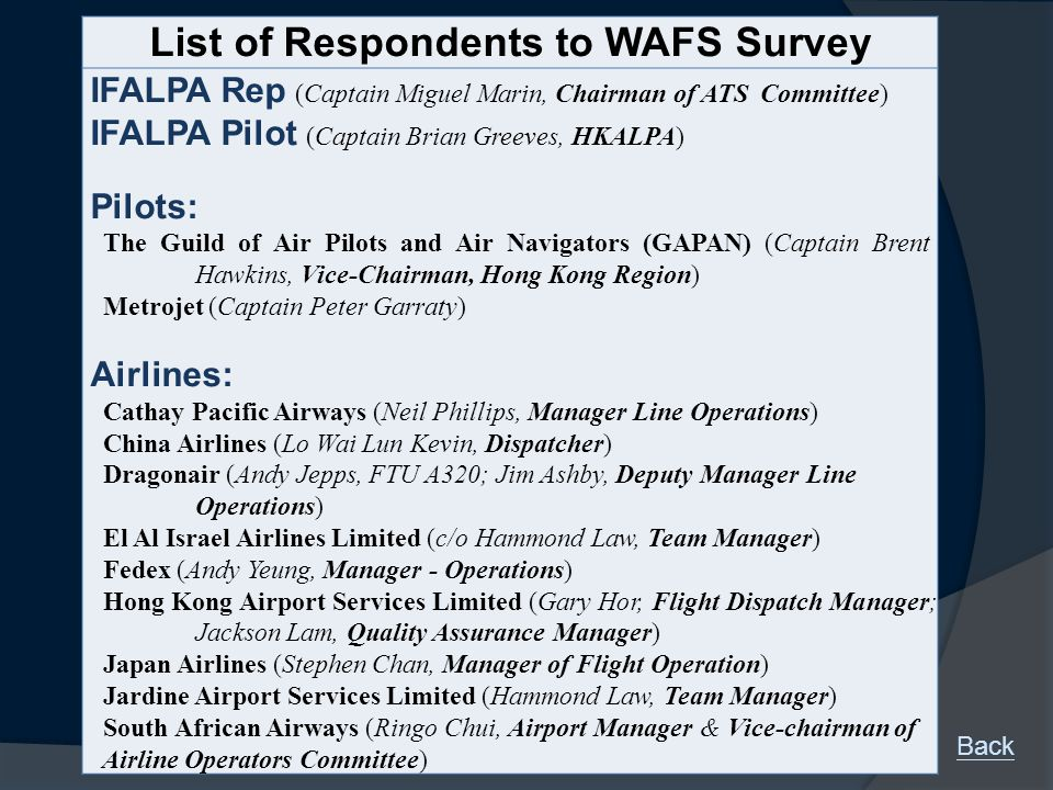 List of Respondents to WAFS Survey IFALPA Rep (Captain Miguel Marin, Chairman of ATS Committee) IFALPA Pilot (Captain Brian Greeves, HKALPA) Pilots: The Guild of Air Pilots and Air Navigators (GAPAN) (Captain Brent Hawkins, Vice-Chairman, Hong Kong Region) Metrojet (Captain Peter Garraty) Airlines: Cathay Pacific Airways (Neil Phillips, Manager Line Operations) China Airlines (Lo Wai Lun Kevin, Dispatcher) Dragonair (Andy Jepps, FTU A320; Jim Ashby, Deputy Manager Line Operations) El Al Israel Airlines Limited (c/o Hammond Law, Team Manager) Fedex (Andy Yeung, Manager - Operations) Hong Kong Airport Services Limited (Gary Hor, Flight Dispatch Manager; Jackson Lam, Quality Assurance Manager) Japan Airlines (Stephen Chan, Manager of Flight Operation) Jardine Airport Services Limited (Hammond Law, Team Manager) South African Airways (Ringo Chui, Airport Manager & Vice-chairman of Airline Operators Committee) Back