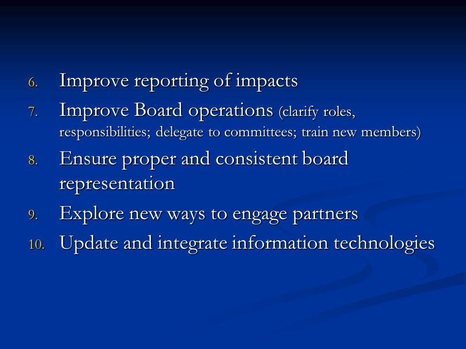 6. Improve reporting of impacts 7. Improve Board operations (clarify roles, responsibilities; delegate to committees; train new members) 8. Ensure pro