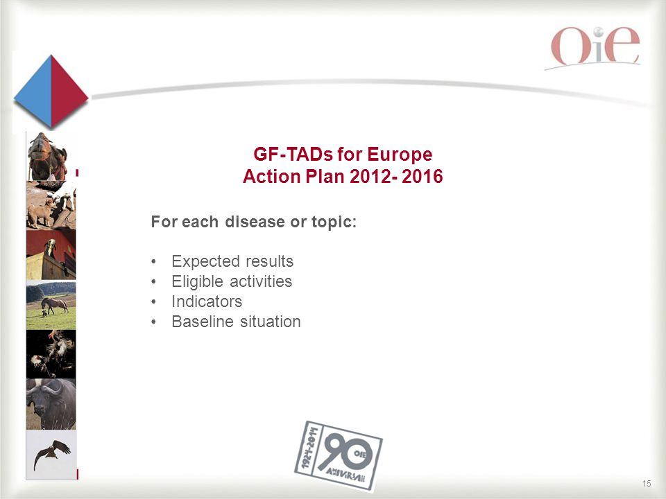 15 GF-TADs for Europe Action Plan 2012- 2016 For each disease or topic: Expected results Eligible activities Indicators Baseline situation