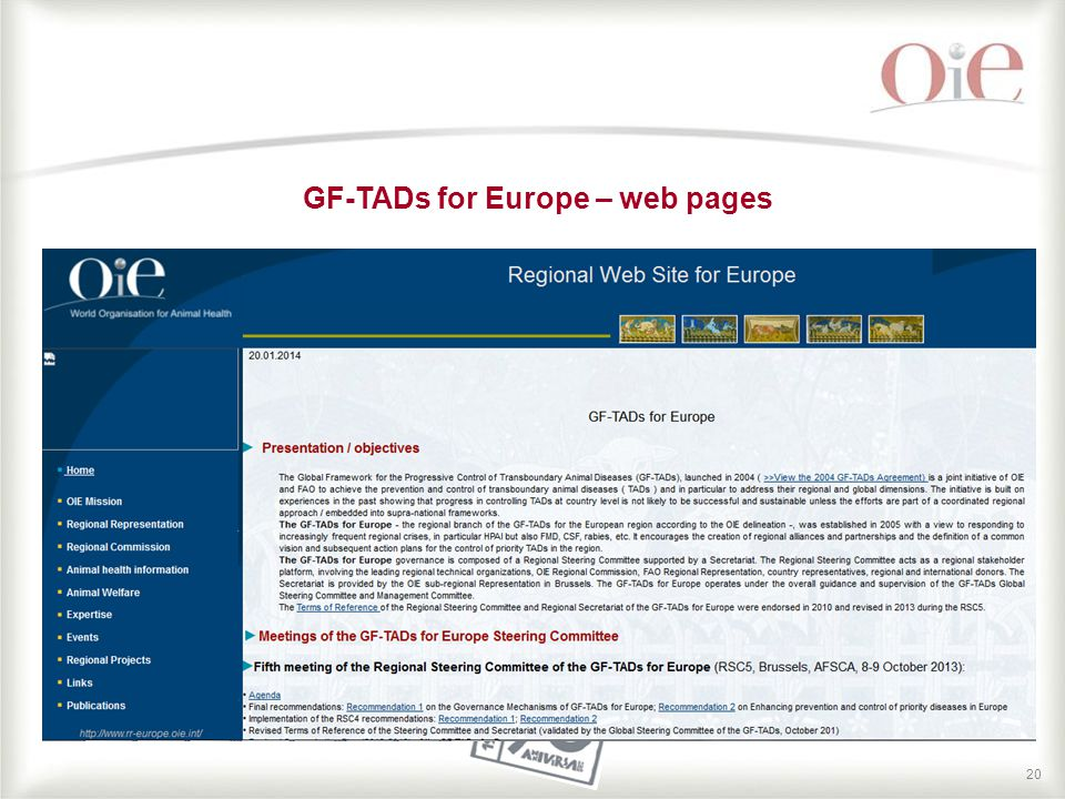 20 GF-TADs for Europe – web pages
