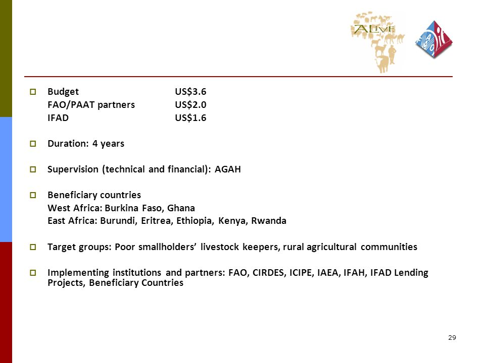 29  BudgetUS$3.6 FAO/PAAT partnersUS$2.0 IFADUS$1.6  Duration: 4 years  Supervision (technical and financial): AGAH  Beneficiary countries West Africa: Burkina Faso, Ghana East Africa: Burundi, Eritrea, Ethiopia, Kenya, Rwanda  Target groups: Poor smallholders' livestock keepers, rural agricultural communities  Implementing institutions and partners: FAO, CIRDES, ICIPE, IAEA, IFAH, IFAD Lending Projects, Beneficiary Countries