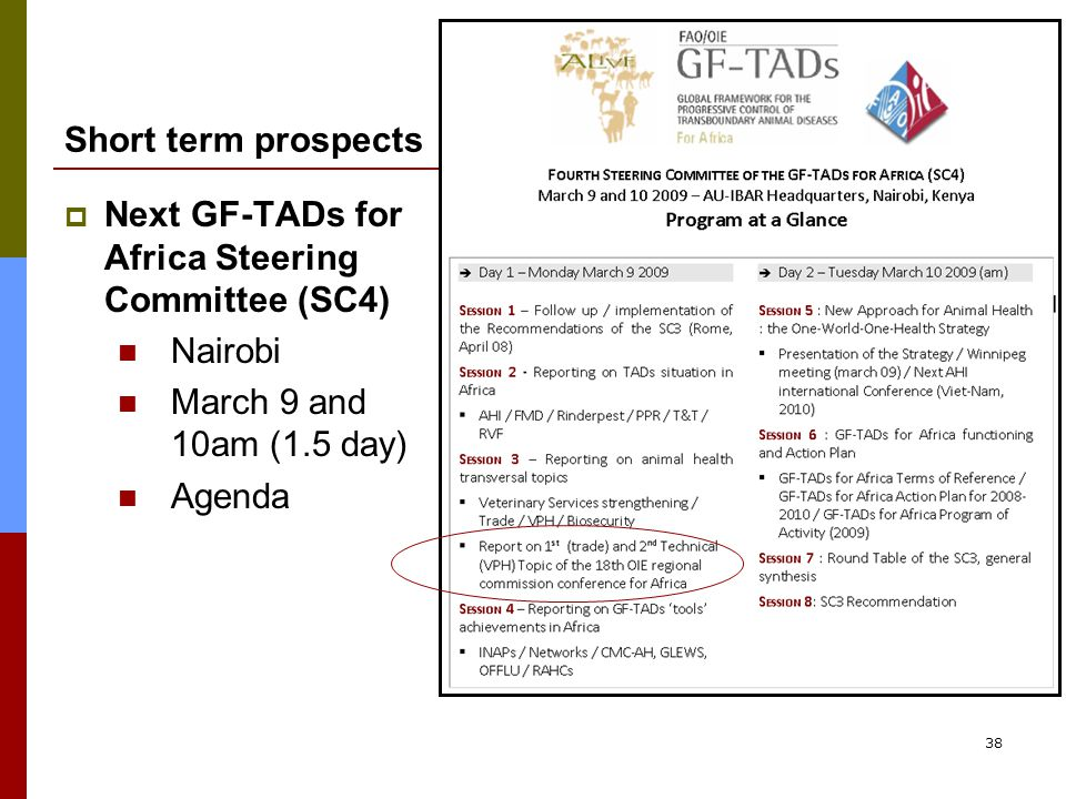 38 Short term prospects  Next GF-TADs for Africa Steering Committee (SC4) Nairobi March 9 and 10am (1.5 day) Agenda