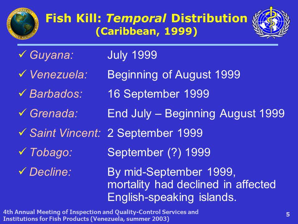 4th Annual Meeting of Inspection and Quality-Control Services and Institutions for Fish Products (Venezuela, summer 2003) 5 Fish Kill: Temporal Distribution (Caribbean, 1999) Guyana: July 1999 Venezuela: Beginning of August 1999 Barbados: 16 September 1999 Grenada: End July – Beginning August 1999 Saint Vincent: 2 September 1999 Tobago: September ( ) 1999 Decline:By mid-September 1999, mortality had declined in affected English-speaking islands.