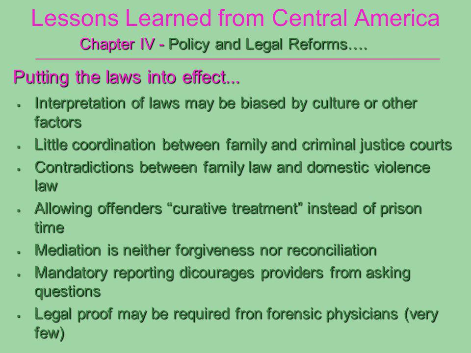 Lessons Learned from Central America Chapter IV - Policy and Legal Reforms….