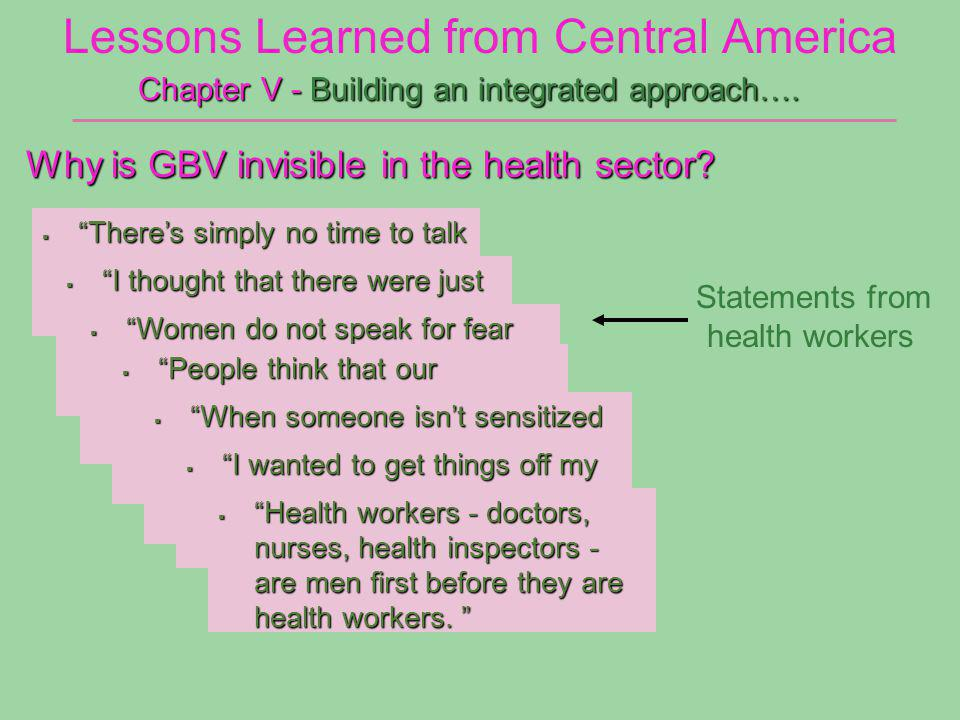 Lessons Learned from Central America Why is GBV invisible in the health sector.