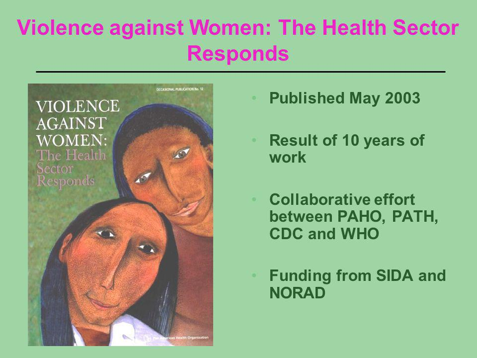 Published May 2003 Result of 10 years of work Collaborative effort between PAHO, PATH, CDC and WHO Funding from SIDA and NORAD Violence against Women: The Health Sector Responds