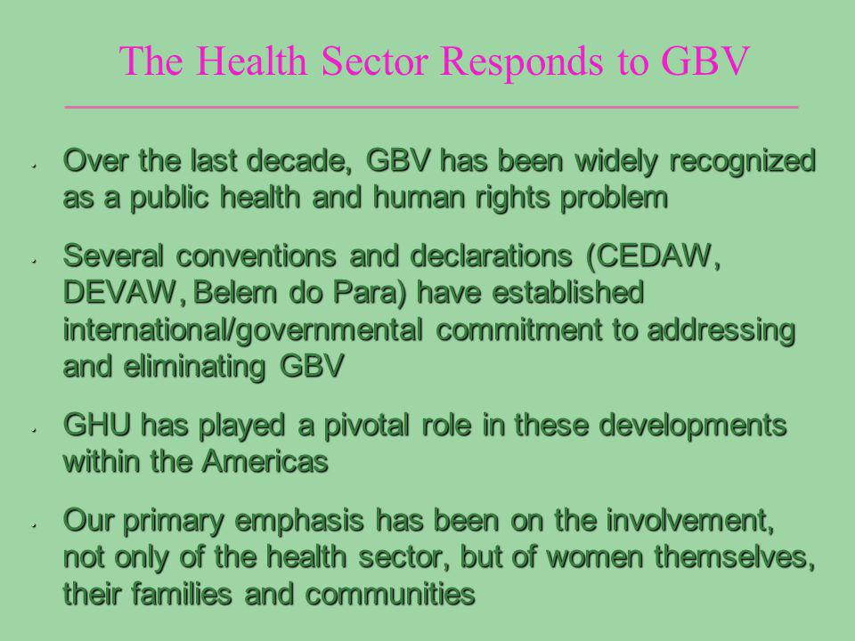 The Health Sector Responds to GBV VAW is …any act of gender based violence that results in, or is likely to result in, physical, sexual or psychological harm or suffering to women… Chapter I - Gender-Based Violence: A Public Health and Human Rights Problem….