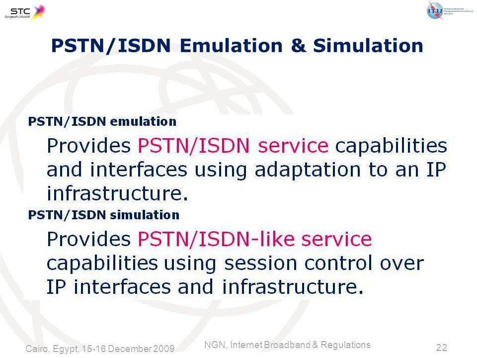 NGN, Internet Broadband & Regulations PSTN/ISDN Emulation & Simulation 22 Cairo, Egypt, December 2009