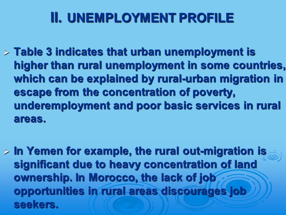 II. UNEMPLOYMENT PROFILE  Table 3 indicates that urban unemployment is higher than rural unemployment in some countries, which can be explained by ru