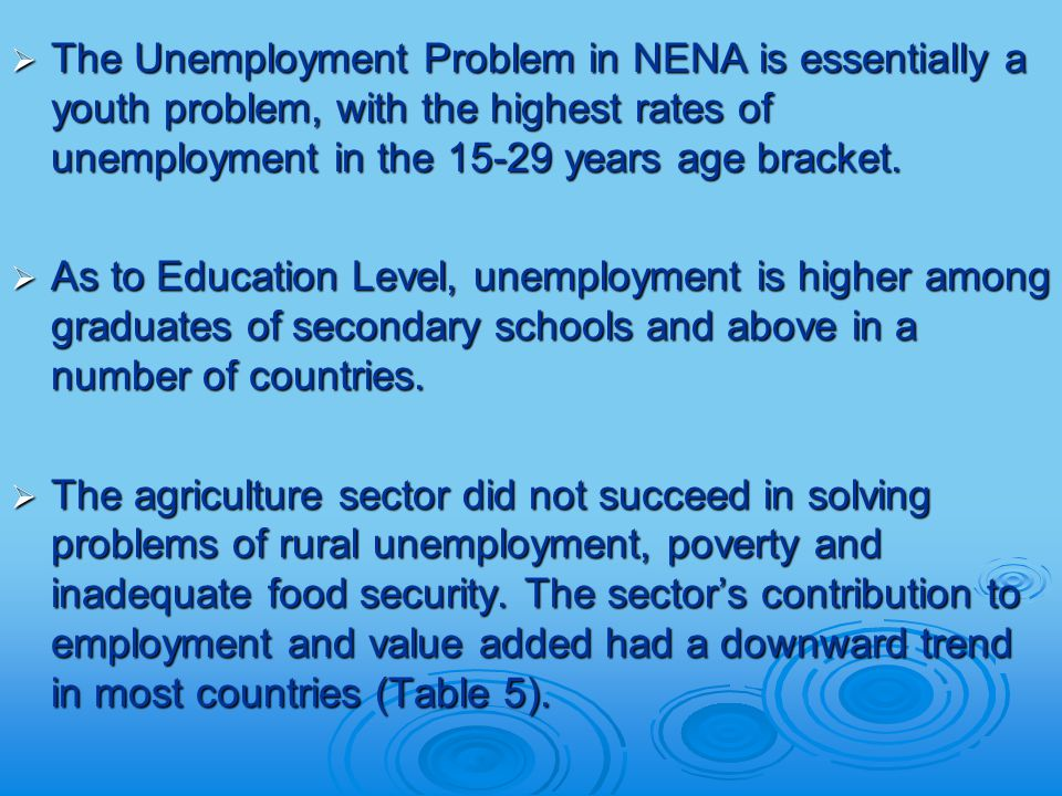  The Unemployment Problem in NENA is essentially a youth problem, with the highest rates of unemployment in the years age bracket.