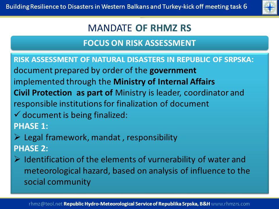  Legislation: Federation - Law on hydrometeorological issues of interest for the Republic (Official Gazette SR BiH no.