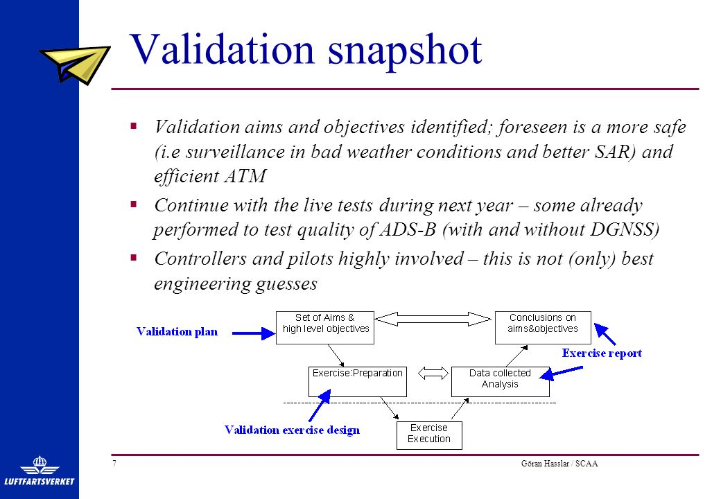 Göran Hasslar / SCAA7 Validation snapshot  Validation aims and objectives identified; foreseen is a more safe (i.e surveillance in bad weather conditions and better SAR) and efficient ATM  Continue with the live tests during next year – some already performed to test quality of ADS-B (with and without DGNSS)  Controllers and pilots highly involved – this is not (only) best engineering guesses