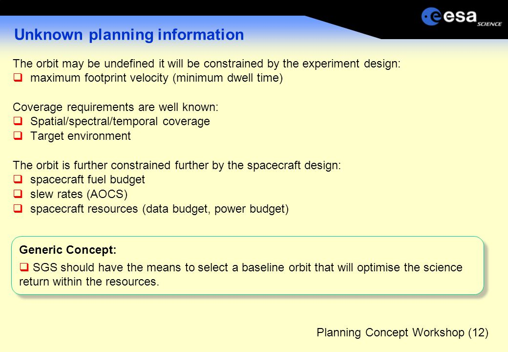 Planning Concept Workshop (12) Unknown planning information The orbit may be undefined it will be constrained by the experiment design:  maximum footprint velocity (minimum dwell time) Coverage requirements are well known:  Spatial/spectral/temporal coverage  Target environment The orbit is further constrained further by the spacecraft design:  spacecraft fuel budget  slew rates (AOCS)  spacecraft resources (data budget, power budget) Generic Concept:  SGS should have the means to select a baseline orbit that will optimise the science return within the resources.