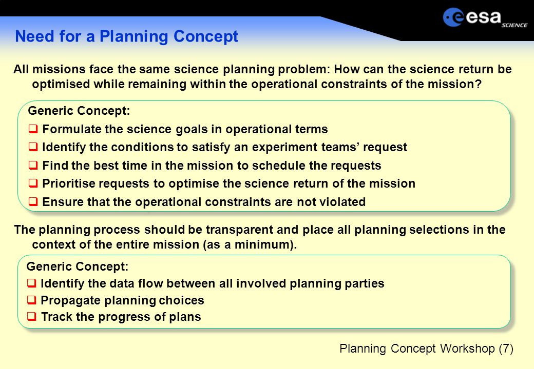 Planning Concept Workshop (7) Need for a Planning Concept All missions face the same science planning problem: How can the science return be optimised while remaining within the operational constraints of the mission.