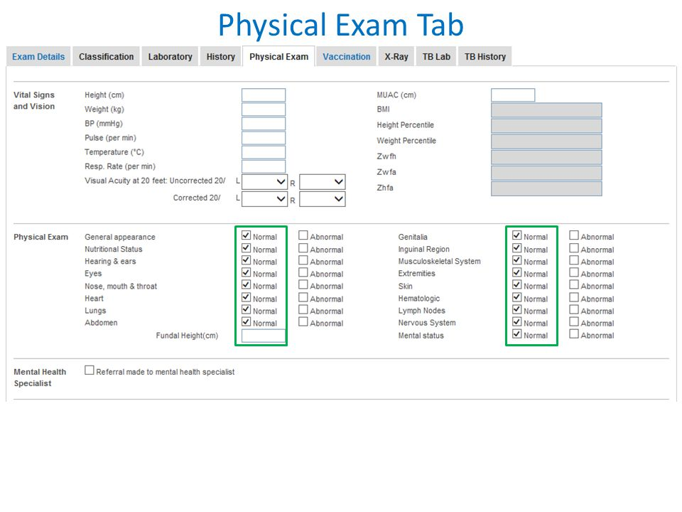 Physical Exam Tab