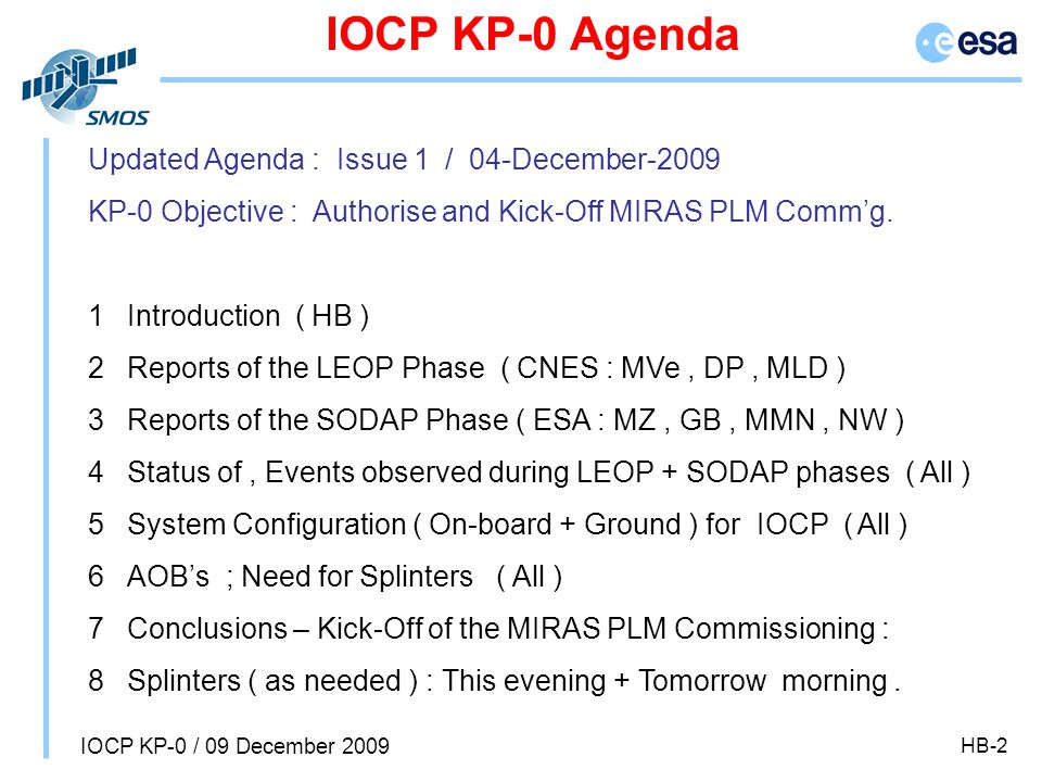 IOCP KP-0 / 09 December 2009 HB-2 IOCP KP-0 Agenda Updated Agenda : Issue 1 / 04-December-2009 KP-0 Objective : Authorise and Kick-Off MIRAS PLM Comm'g.