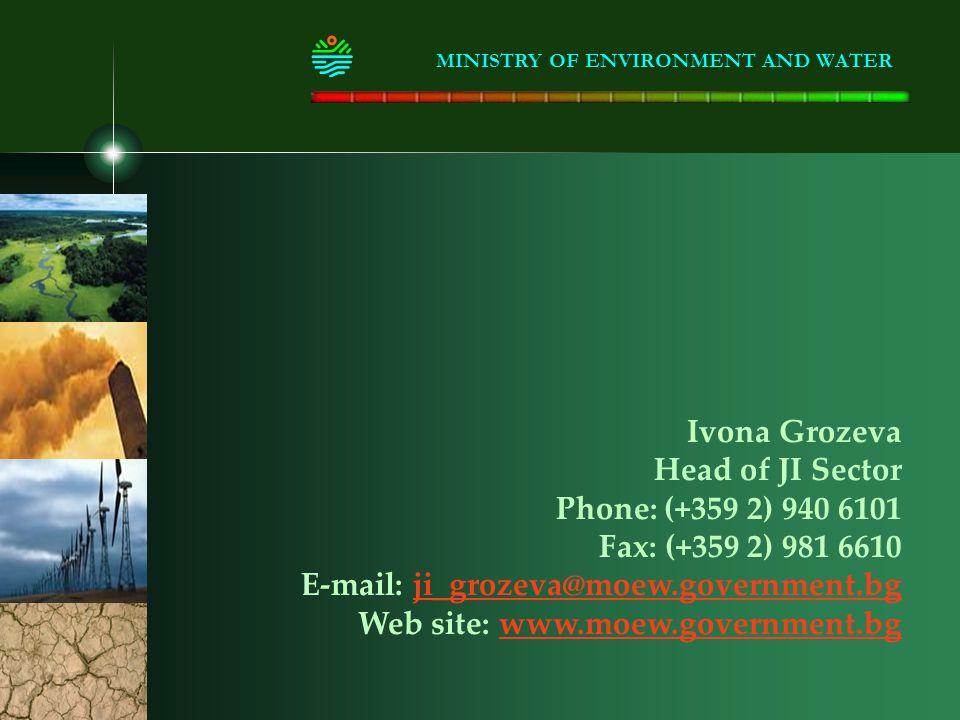Ivona Grozeva Head of JI Sector Phone: (+359 2) 940 6101 Fax: (+359 2) 981 6610 E-mail: ji_grozeva@moew.government.bgji_grozeva@moew.government.bg Web