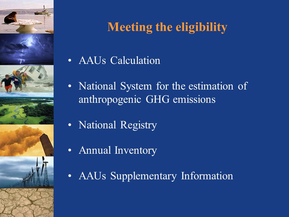 Meeting the eligibility AAUs Calculation National System for the estimation of anthropogenic GHG emissions National Registry Annual Inventory AAUs Supplementary Information