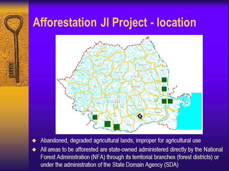 Afforestation JI Project - location  Abandoned, degraded agricultural lands, improper for agricultural use  All areas to be afforested are state-owned administered directly by the National Forest Administration (NFA) through its territorial branches (forest districts) or under the administration of the State Domain Agency (SDA)
