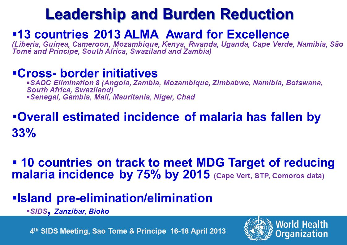 Leadership and Burden Reduction  13 countries 2013 ALMA Award for Excellence (Liberia, Guinea, Cameroon, Mozambique, Kenya, Rwanda, Uganda, Cape Verde, Namibia, São Tomé and Príncipe, South Africa, Swaziland and Zambia)  Cross- border initiatives  SADC Elimination 8 (Angola, Zambia, Mozambique, Zimbabwe, Namibia, Botswana, South Africa, Swaziland)  Senegal, Gambia, Mali, Mauritania, Niger, Chad  Overall estimated incidence of malaria has fallen by 33%  10 countries on track to meet MDG Target of reducing malaria incidence by 75% by 2015 (Cape Vert, STP, Comoros data)  Island pre-elimination/elimination  SIDS, Zanzibar, Bioko