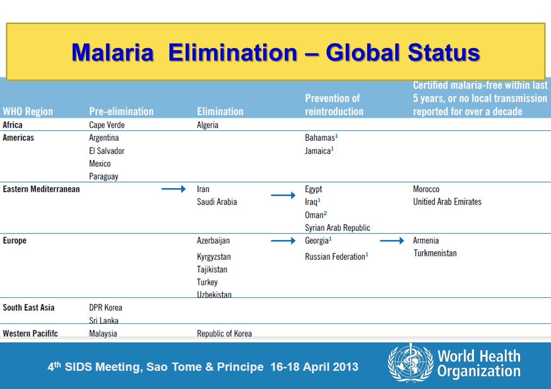 4 th SIDS Meeting, Sao Tome & Principe 16-18 April 2013 Malaria Elimination – Global Status