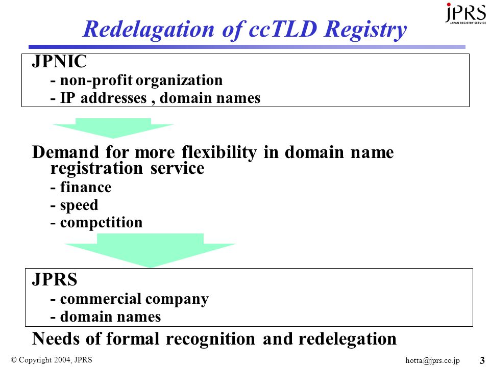 © Copyright 2004, JPRS 3 Redelagation of ccTLD Registry JPNIC - non-profit organization - IP addresses, domain names Demand for more flexibility in domain name registration service - finance - speed - competition JPRS - commercial company - domain names Needs of formal recognition and redelegation