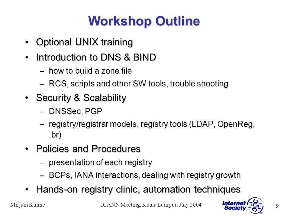 9 Mirjam KühneICANN Meeting, Kuala Lumpur, July 2004 Workshop Outline Optional UNIX trainingOptional UNIX training Introduction to DNS & BINDIntroduction to DNS & BIND –how to build a zone file –RCS, scripts and other SW tools, trouble shooting Security & ScalabilitySecurity & Scalability –DNSSec, PGP –registry/registrar models, registry tools (LDAP, OpenReg,.br) Policies and ProceduresPolicies and Procedures –presentation of each registry –BCPs, IANA interactions, dealing with registry growth Hands-on registry clinic, automation techniquesHands-on registry clinic, automation techniques