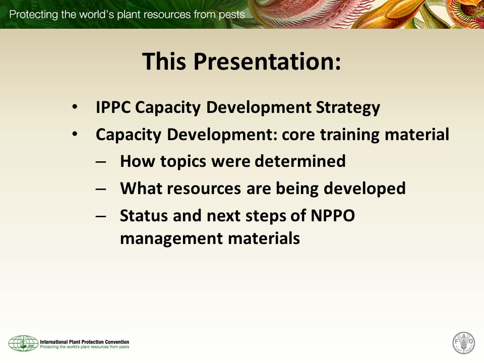 This Presentation: IPPC Capacity Development Strategy Capacity Development: core training material – How topics were determined – What resources are being developed – Status and next steps of NPPO management materials