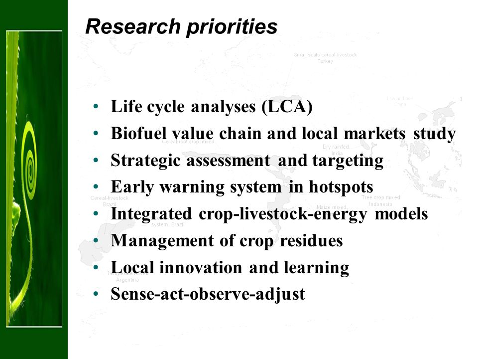 Research priorities Life cycle analyses (LCA) Biofuel value chain and local markets study Strategic assessment and targeting Early warning system in hotspots Integrated crop-livestock-energy models Management of crop residues Local innovation and learning Sense-act-observe-adjust