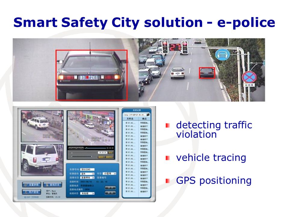 Smart Safety City solution - e-police detecting traffic violation vehicle tracing GPS positioning