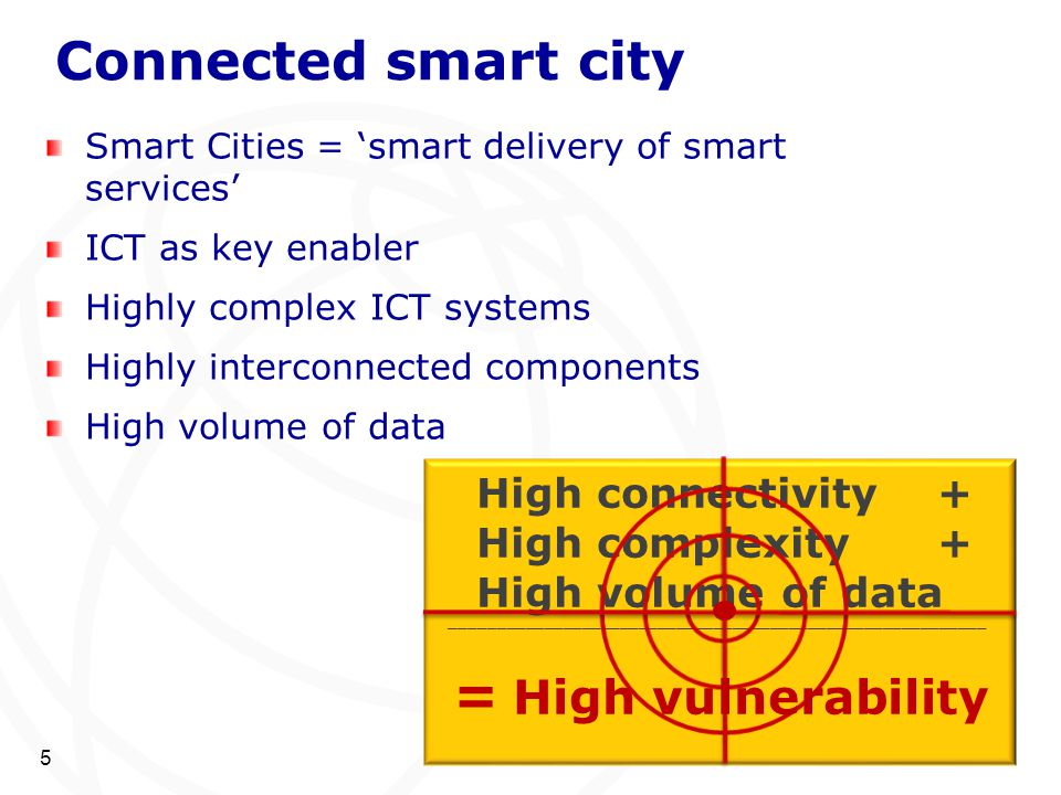 Connected smart city Smart Cities = 'smart delivery of smart services' ICT as key enabler Highly complex ICT systems Highly interconnected components