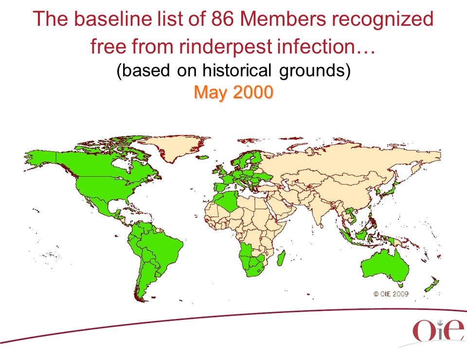 May 2000 The baseline list of 86 Members recognized free from rinderpest infection… (based on historical grounds) May 2000