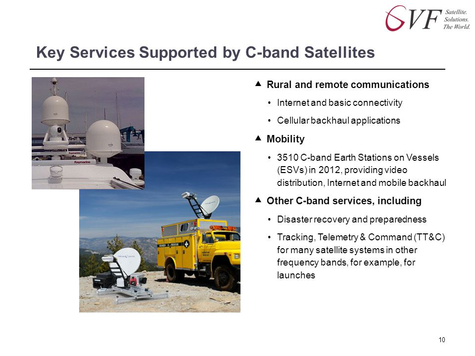 Key Services Supported by C-band Satellites  Rural and remote communications Internet and basic connectivity Cellular backhaul applications  Mobilit