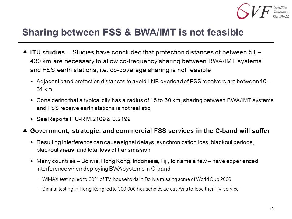 Sharing between FSS & BWA/IMT is not feasible  ITU studies – Studies have concluded that protection distances of between 51 – 430 km are necessary to