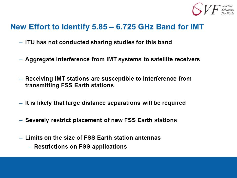 New Effort to Identify 5.85 – 6.725 GHz Band for IMT –ITU has not conducted sharing studies for this band –Aggregate interference from IMT systems to