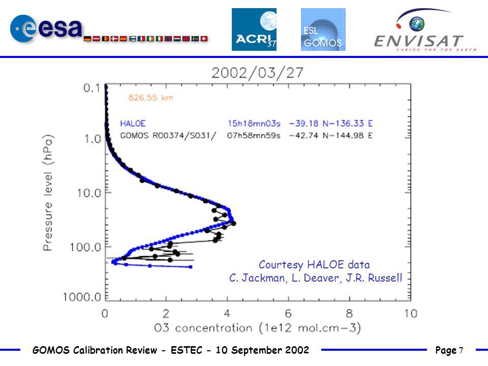 Page 7 GOMOS Calibration Review - ESTEC - 10 September 2002 Courtesy HALOE data C.