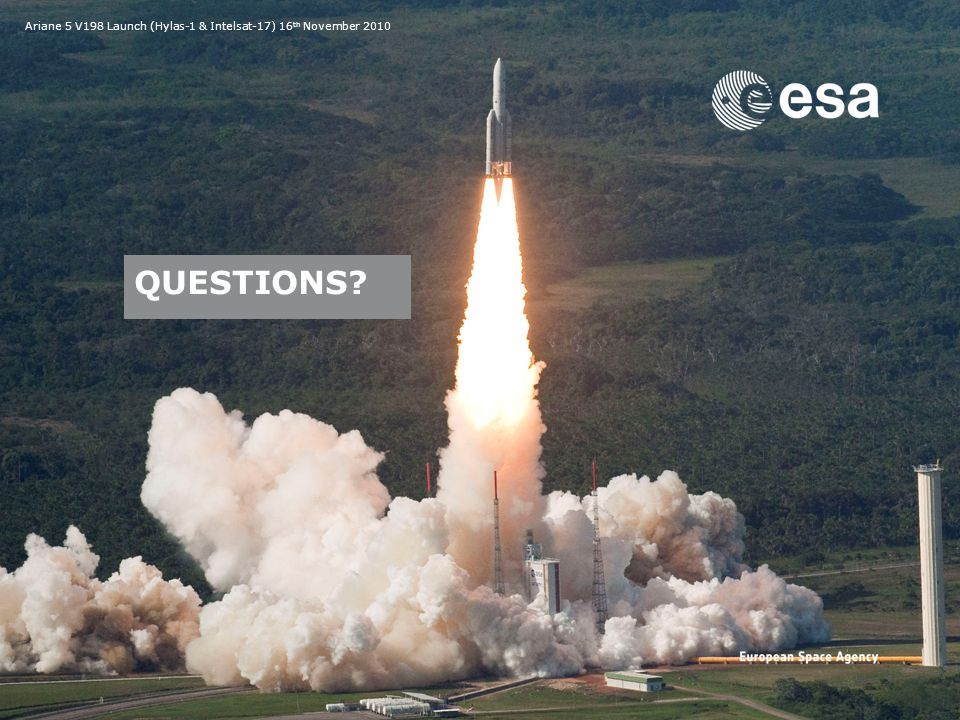 Emmet Fletcher | SSA Precursor Programme | SSA Industry Day | CO-VIII & DC-II Page: 32 European Space Agency QUESTIONS.