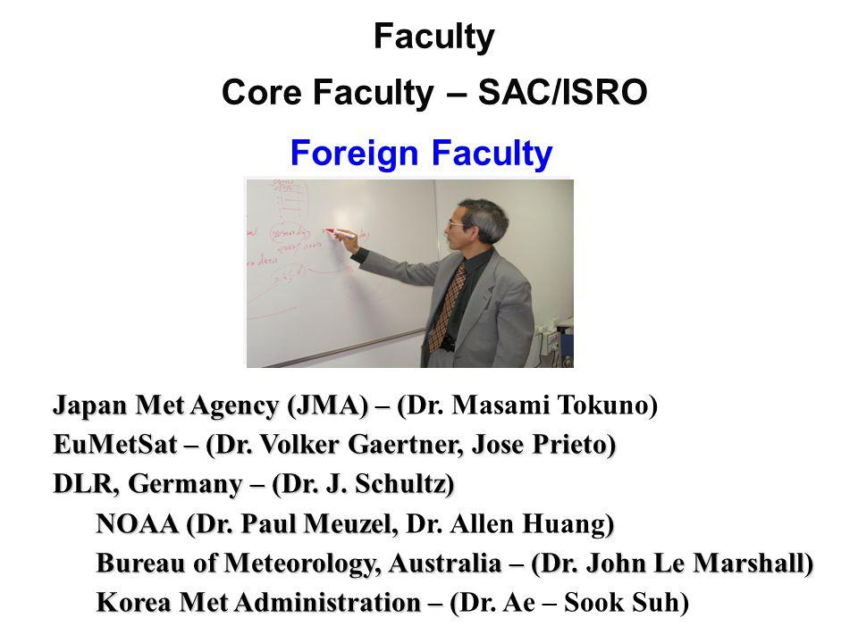Foreign Faculty Faculty Core Faculty – SAC/ISRO Japan Met Agency (JMA) – ( Japan Met Agency (JMA) – (Dr.