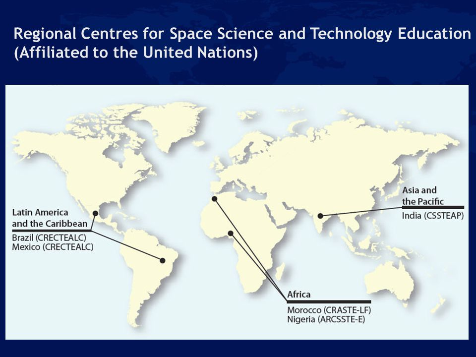 Regional Centres for Space Science and Technology Education (Affiliated to the United Nations)