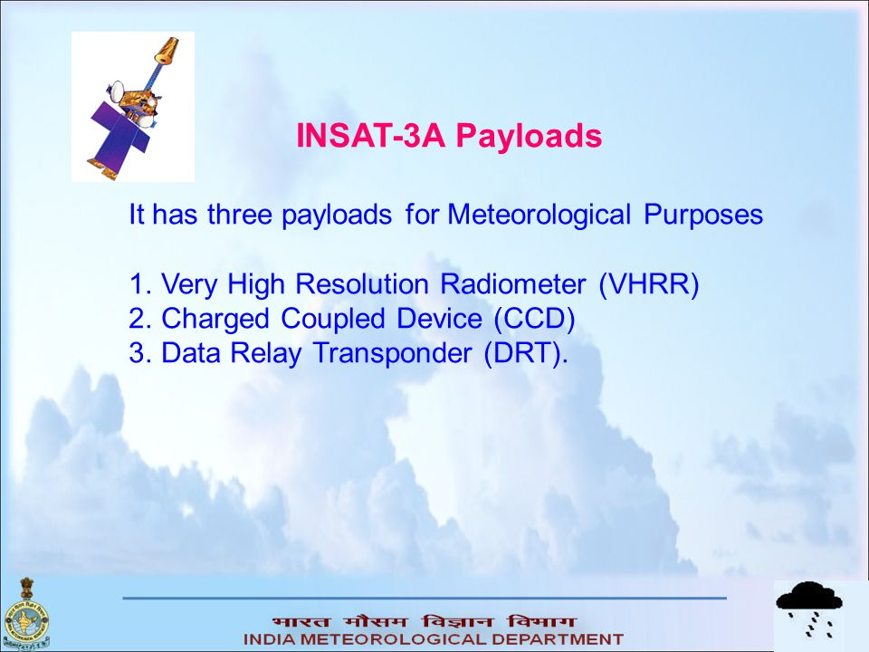 INSAT-3A Payloads It has three payloads for Meteorological Purposes 1.Very High Resolution Radiometer (VHRR) 2.Charged Coupled Device (CCD) 3.Data Rel