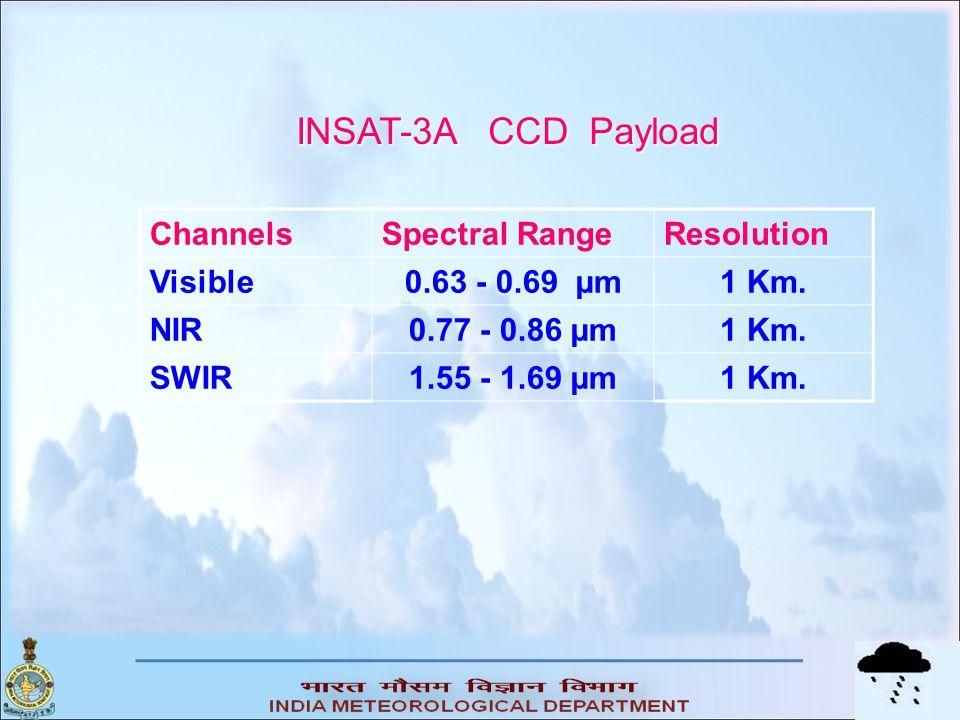 ChannelsSpectral RangeResolution Visible0.63 - 0.69 µm1 Km. NIR0.77 - 0.86 µm1 Km. SWIR1.55 - 1.69 µm1 Km. INSAT-3A CCD Payload INSAT-3A CCD Payload