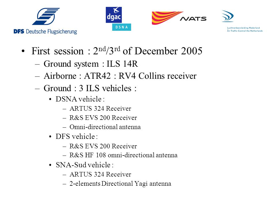 Second session : 25 th of March 2006 –Ground system : ILS 14R –Airborne : ATR42 : RV4 Collins receiver –Ground : 2 ILS vehicles : DSNA vehicle : –ARTUS 324 Receiver –R&S EVS 200 Receiver –Omni-directional antenna SNA-Sud vehicle : –ARTUS 324 Receiver –Directional Yagi antenna 45° rotated towards A380