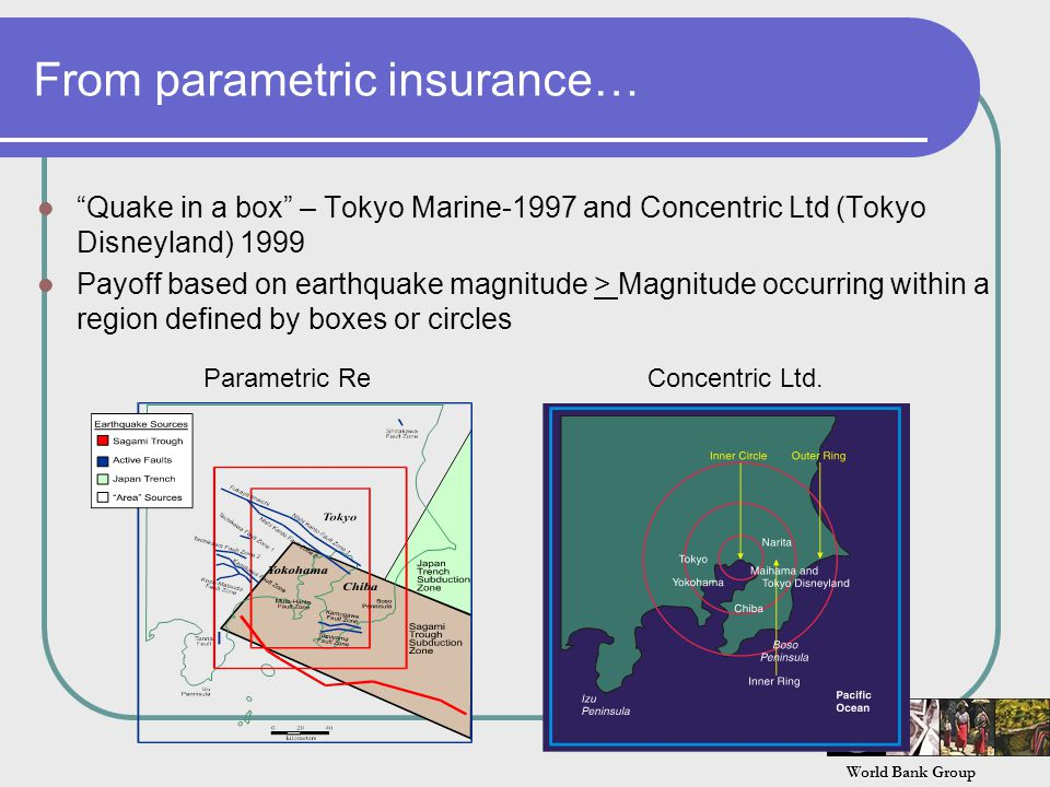 World Bank Group From parametric insurance… Quake in a box – Tokyo Marine-1997 and Concentric Ltd (Tokyo Disneyland) 1999 Payoff based on earthquake magnitude > Magnitude occurring within a region defined by boxes or circles Parametric ReConcentric Ltd.