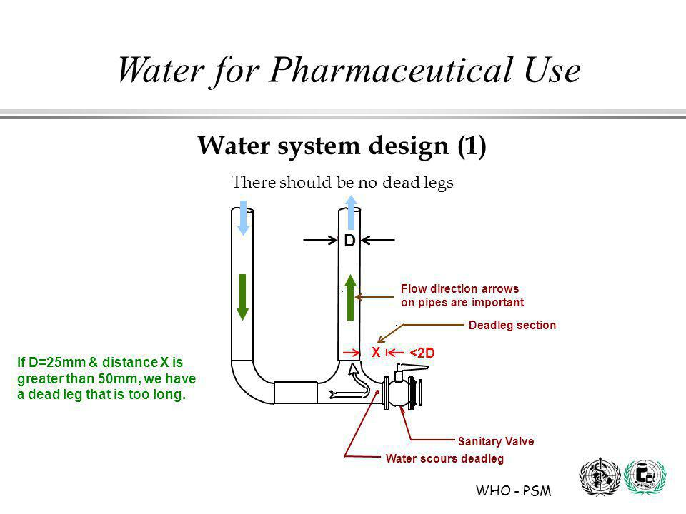 WHO - PSM Water for Pharmaceutical Use Water system design (1) There should be no dead legs