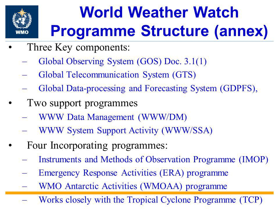 World Weather Watch Programme Structure (annex) Three Key components: –Global Observing System (GOS) Doc.